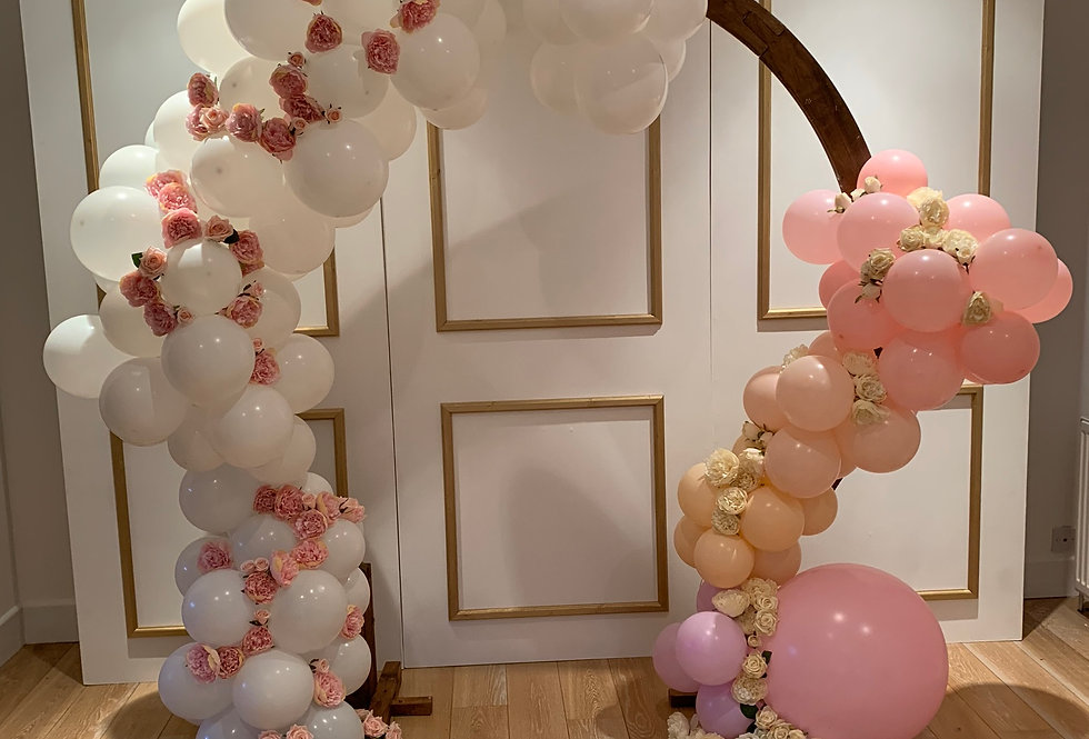 Moon Arch with Double Sided Balloon Garland & Faux Flowers