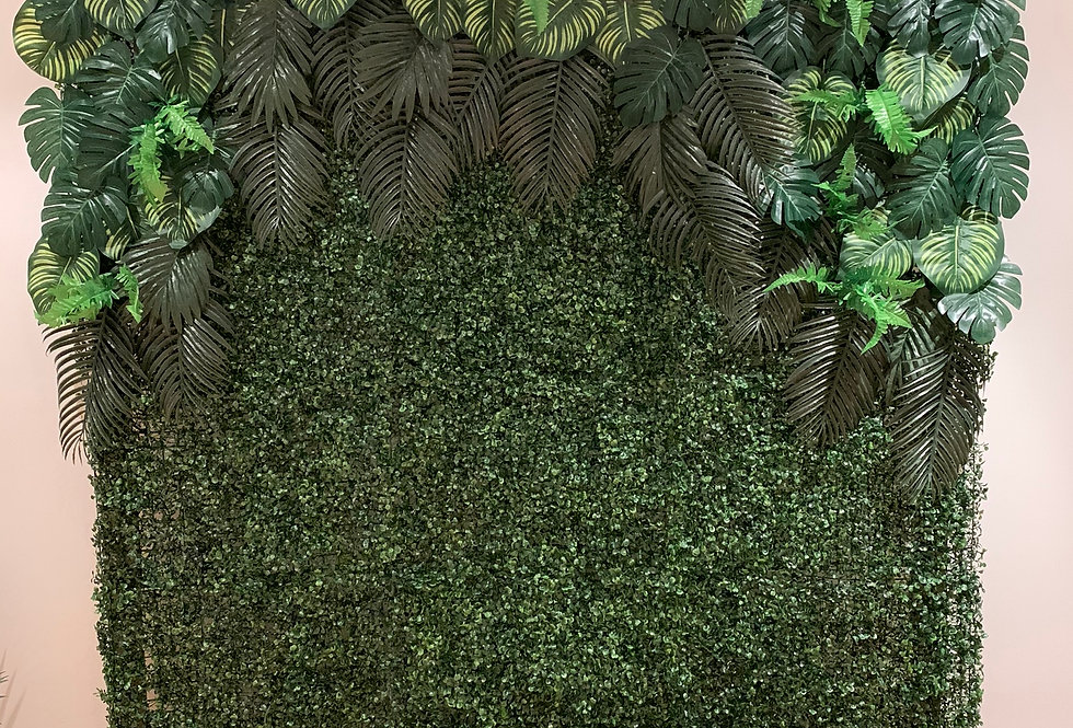 Greenery Wall with Tropical Leaves Topper