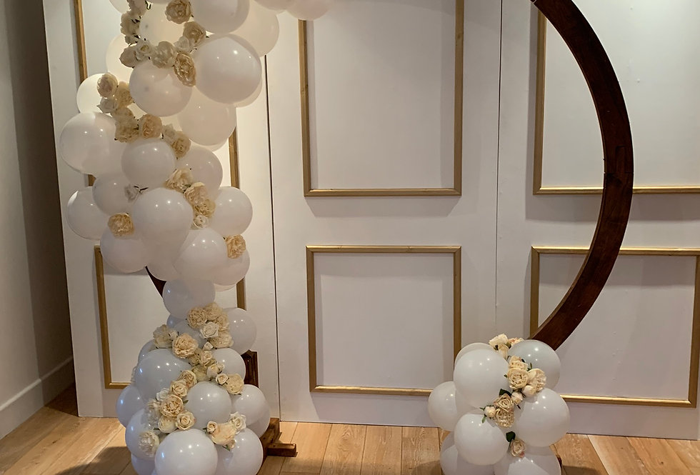 Moon Arch with Faux Florals & Balloon Garlands