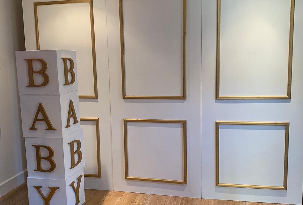 Elegant White & Gold Baby Blocks