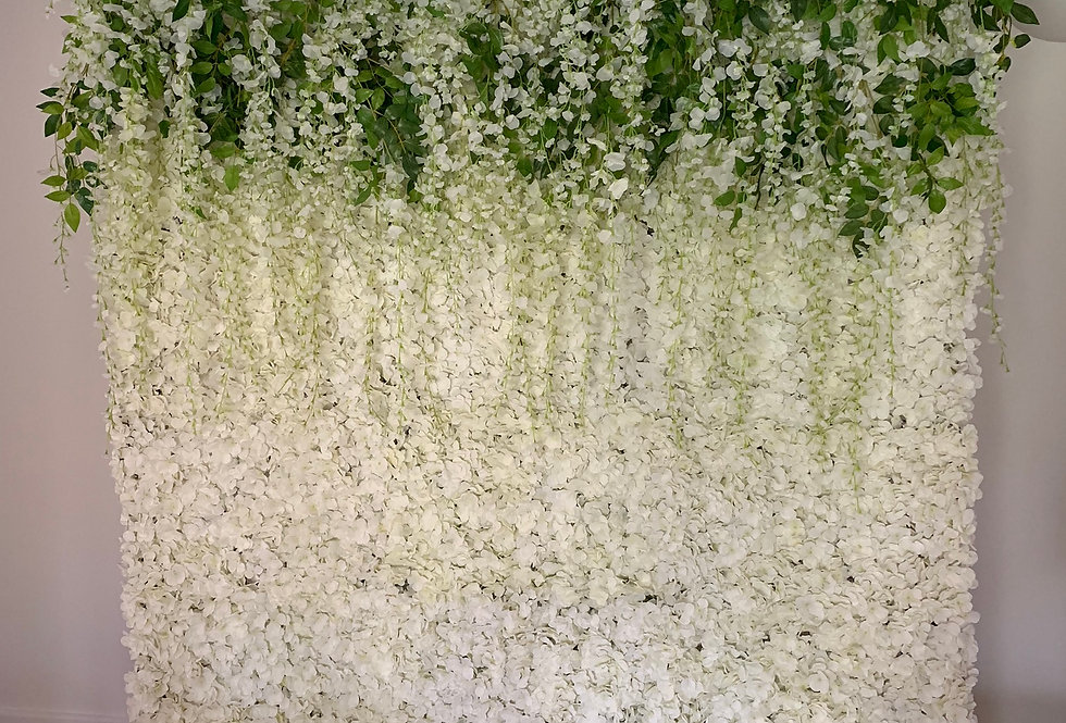 Flower Wall with Rose & Wisteria Topper