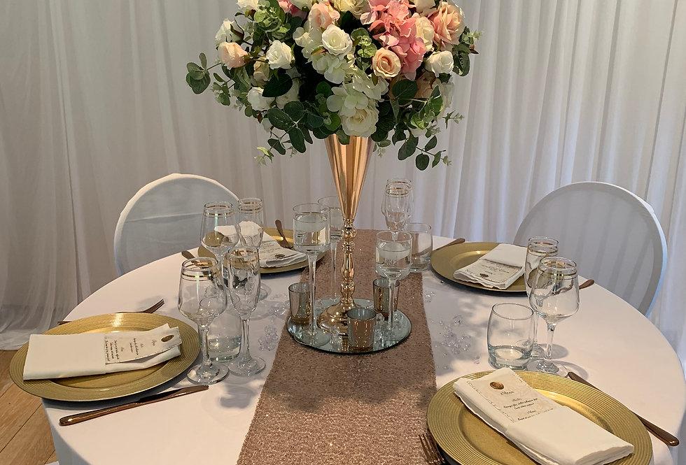 Gold Trumpet Vase Faux Floral Arrangement