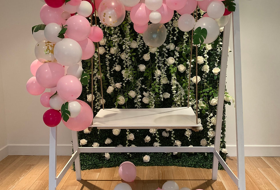 Classic White Cake Swing and One Balloon Garlands
