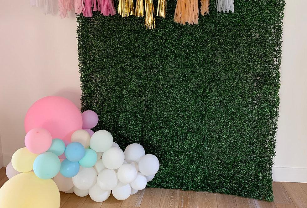 Greenery Wall with Balloon Garlands