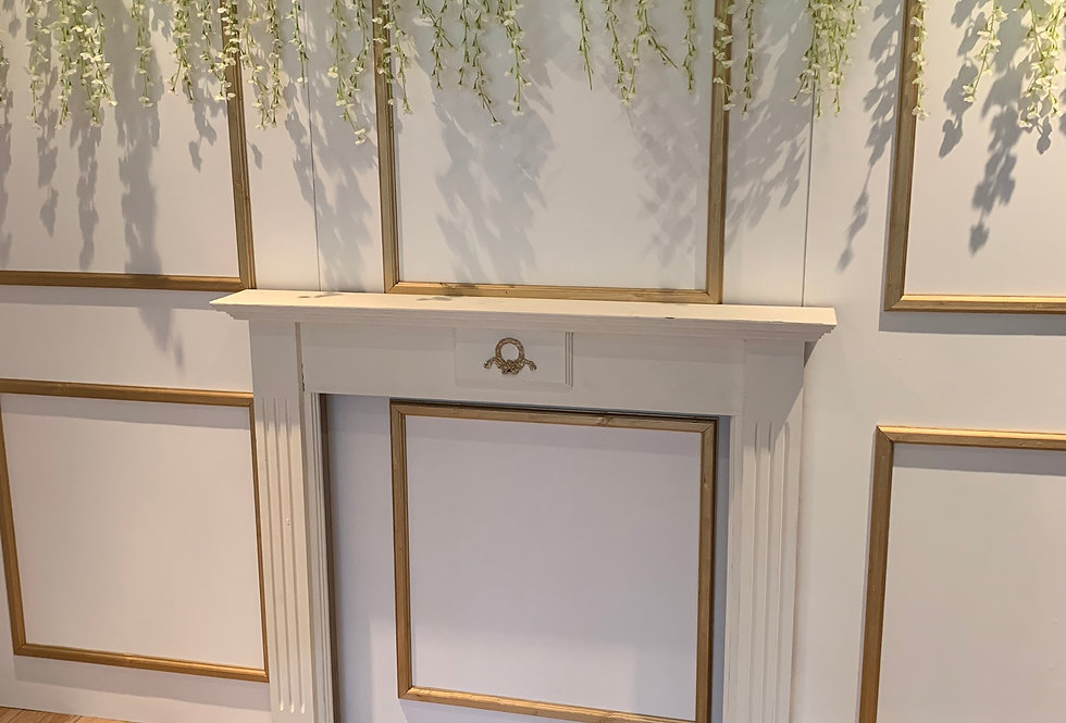 Elegant White & Gold Backdrop with Fireplace