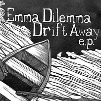 an image of the album cover for Drift Away. Image is an aerial view of the end of a canoe in some water. Image is black and white and was created using a linolium cut print by artist Stefan Nodarse. Above the image ead Emma Dilemma Drift Away e.p.