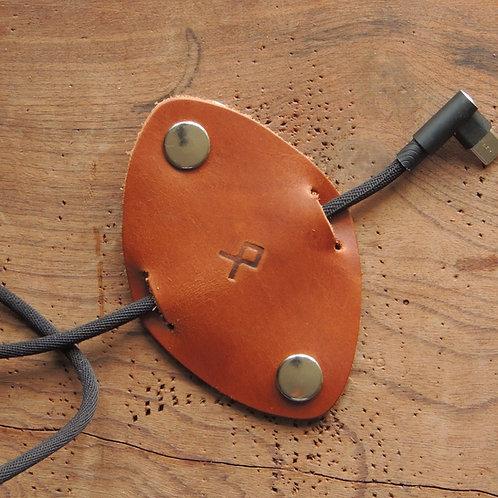 Organizador de cabos em couro Caramelo