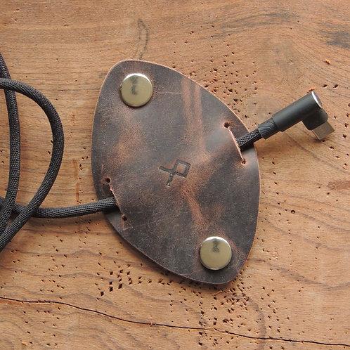 Organizador de cabos em couro Café