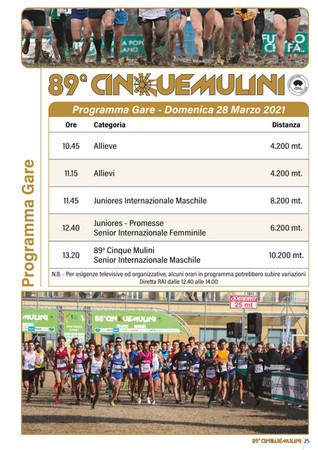 89^ Cinque Mulini - Nuovo programma Gare