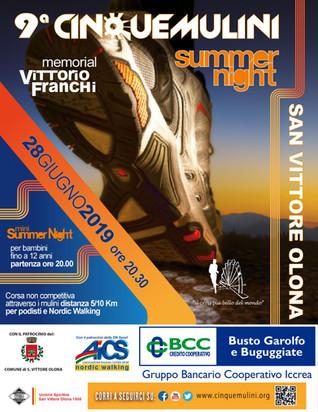 Cinque Mulini Summer Night, venerdì 28 giugno la corsa diventa festa a San Vittore Olona