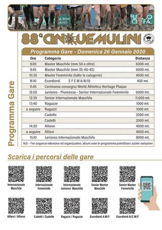 88^ Cinque Mulini - Nuovo programma gare