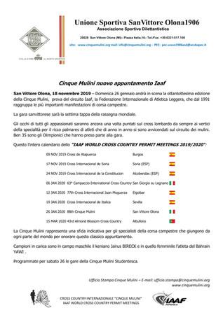 IAAF World Cross Country Permit Meetings 2019/2020