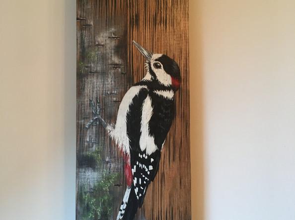 Woodpecker on Barrel Stave