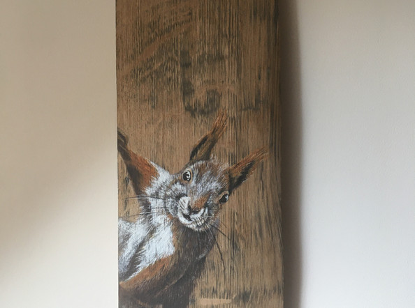 Whisky Barrel Stave - Red Squirrel