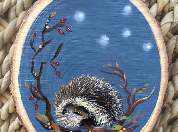 Sleepy Hedgehog Wood Slice