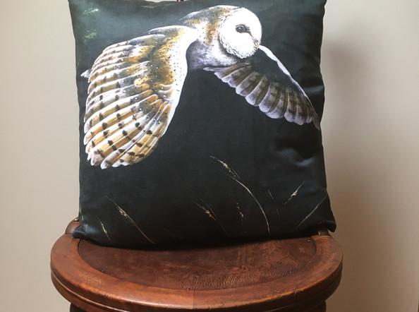 Barn Owl Vegan Suede Cushion