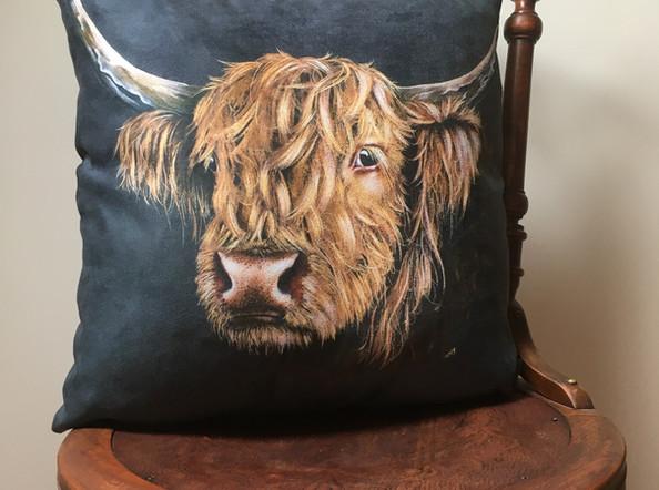 Highland Cow Vegan Suede Cushion