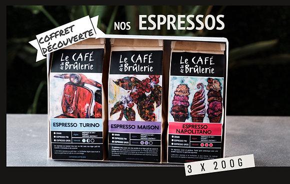 Coffret découverte ESPRESSOS. 3 x 200g