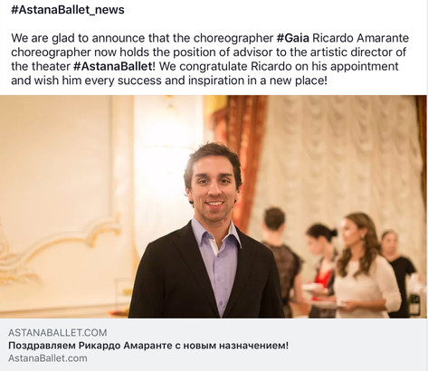 Appointment to Astana Ballet