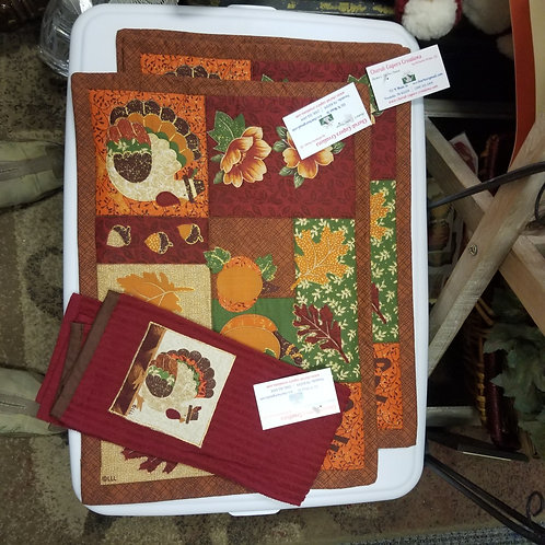 Thanksgiving Dinner Placemats (3) and Matching Terry Tea Towel