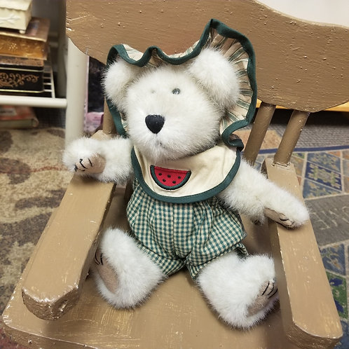 Plush:  Boyds Bears Sugar McRind wearing her Watermelon decorated outfit