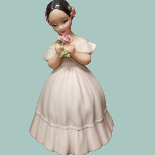 """SOUTHERN BELLE GIRL Figurine Brunette Ivory Gown & Flowers MCM Holland Mold10"""" T"""