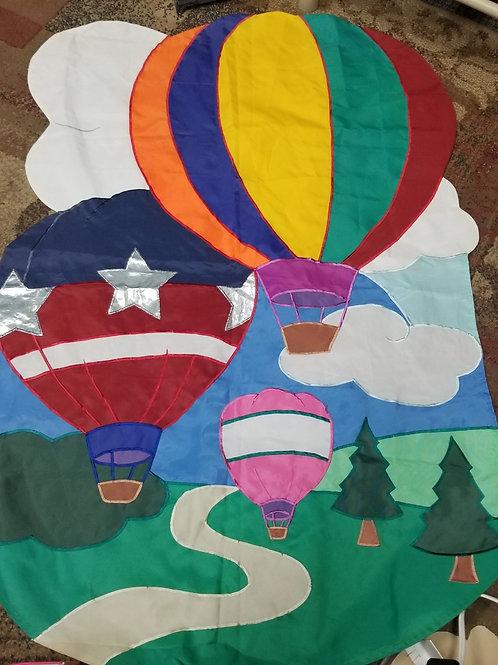 Garden Decor: Large Applique Yard Flag Hot Air Balloons Scene