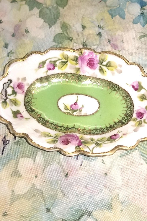Dish: Vintage Nippon Snack Dish Gold Enamel Pink Rose's and Green Accents