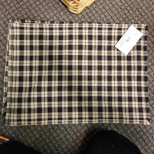 Set of 6 Black and Beige Buffalo Plaid / Gingham Cotton Napkins