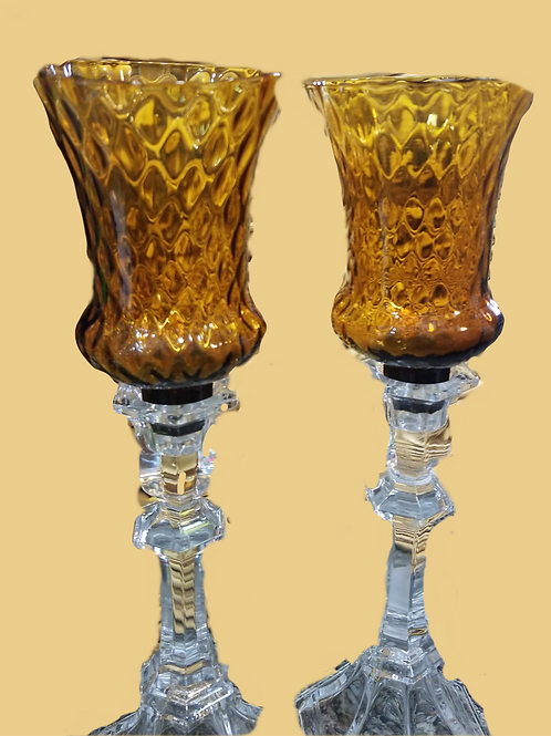 Pair of Vintage Amber Candle Sconces in Crystal Candle Holders