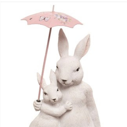 Bunny Mother and Child under Umbrella
