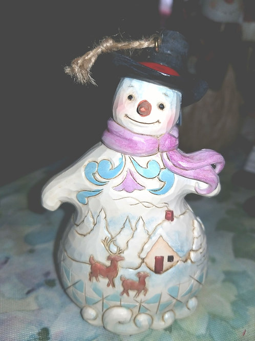 Decoration: Jim Shore Winter Scene Snowman Ornament