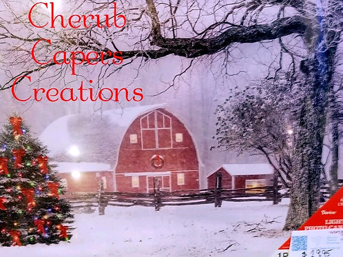 Decoration: LED Light-up Barn and Xmas Tree Canvas
