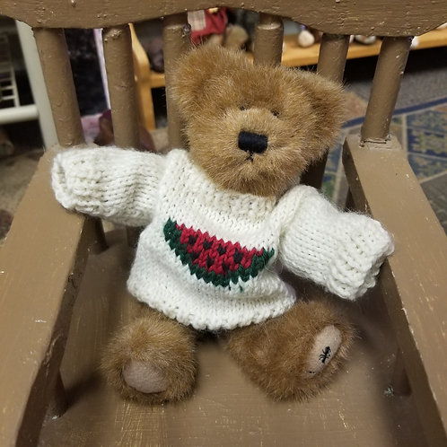 Plush:  Boyds Bears Buster McRind wearing his Watermelon decorated sweaters