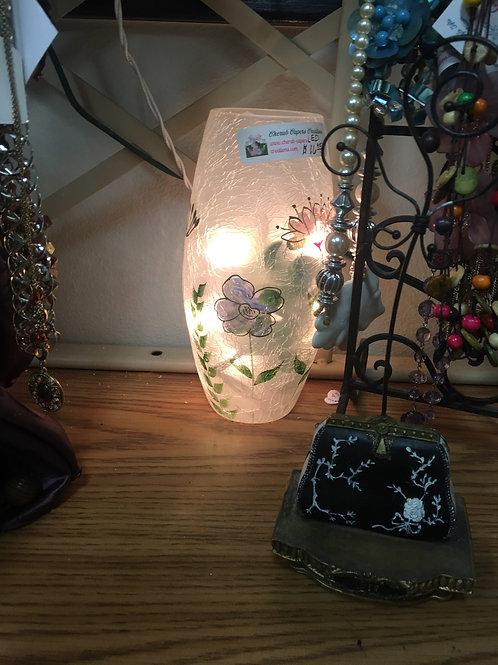 Crackle Glass Spring Colors LED Vase