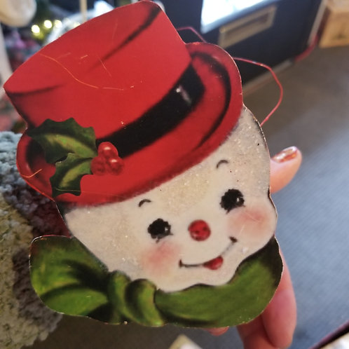 Vintage Snowman Face Bucket by BETHANY LOWE