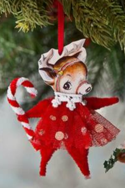 Holiday CHENILLE REINDEER ORNAMENT by BETHANY LOWE