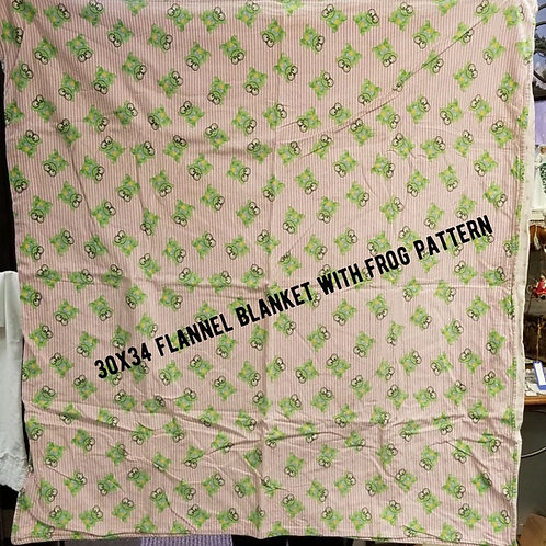 Flannel Blanket With Frog Pattern