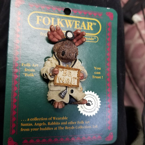 Be Well Moose by Boyds Bears Bearwear Pin Brooch