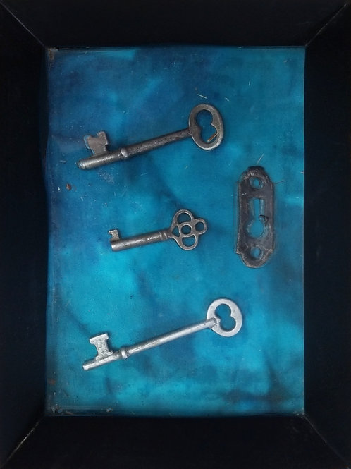 Keys: Framed Vintage, 2 Corbin, 1 Antique Furniture, & 1 Escutcheon Plate