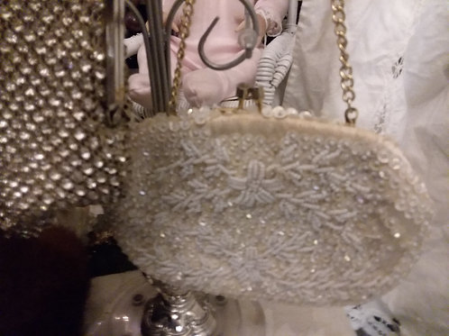Warm Ivory Beaded Evening Bag