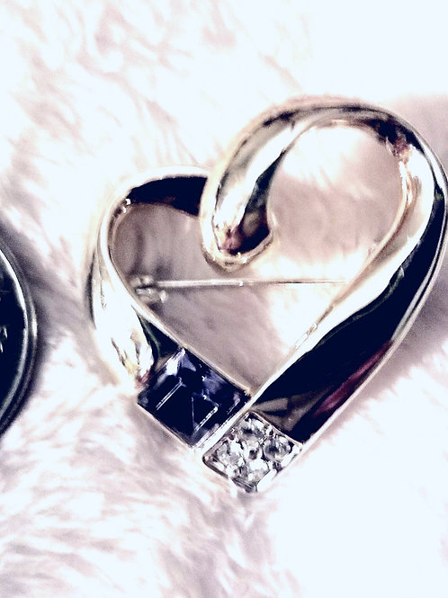 Brooch: Silver Color Heart Shape with Touch of Bling