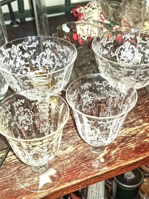 Stemware: Set of 4 Vintage Navarro Crystal: 2 Sherbet and 2 Oyster