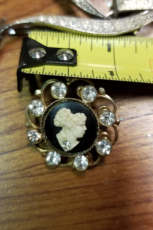 Pin: Ornate Cameo Brooch with Rhinestones