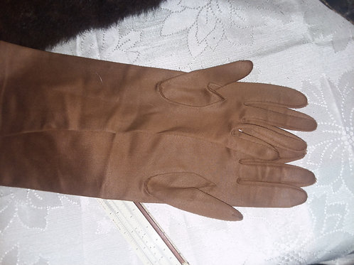 Ladies Dark Brown, Long Length Evening Gloves, no size label but estimate medium