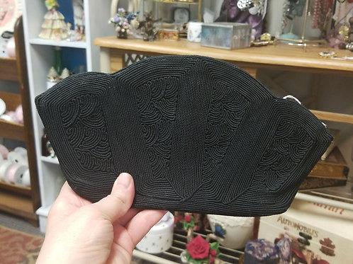 Handbag: 1940s Vintage Black Corde Soutache Evening Bag Purse Handbag Clutch
