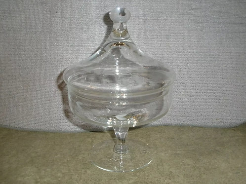 "Dish: Princess House Heritage Footed Candy Dish and Lid 4.5""D x 6.5""H"