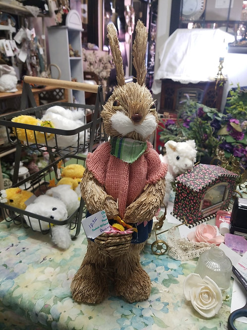 """Decoration: Straw Easter Bunny with Basket 15"""" Tall"""