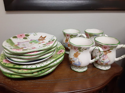 Dishes: Easter Bunny Rabbit Dinnerware for 4