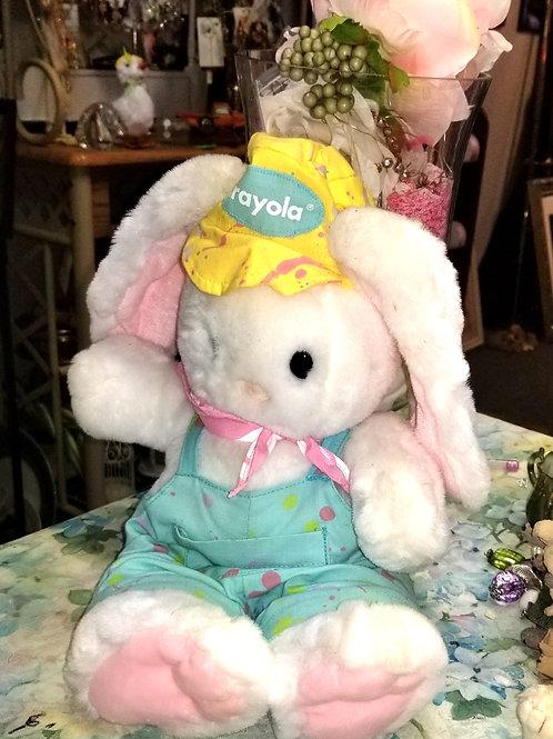 "Toy: Vintage 1990 Hallmark Crayola Bunny Plush Overalls Hat 13"""